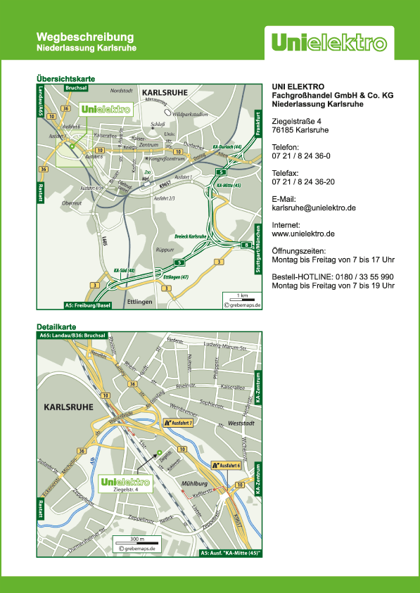 Wegbeschreibung erstellen Karte Karlsruhe (UE)