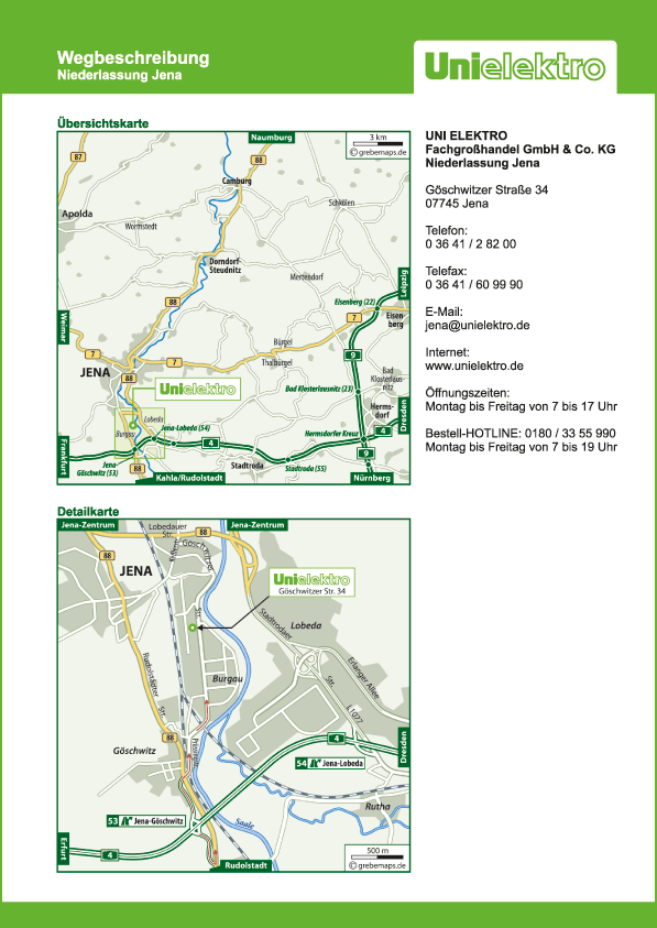 Wegbeschreibung erstellen Karte Jena (UE)