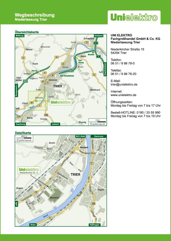 Wegbeschreibung erstellen Karte Trier (UE)