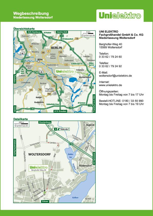 Wegbeschreibung erstellen Karte Woltersdorf (UE)