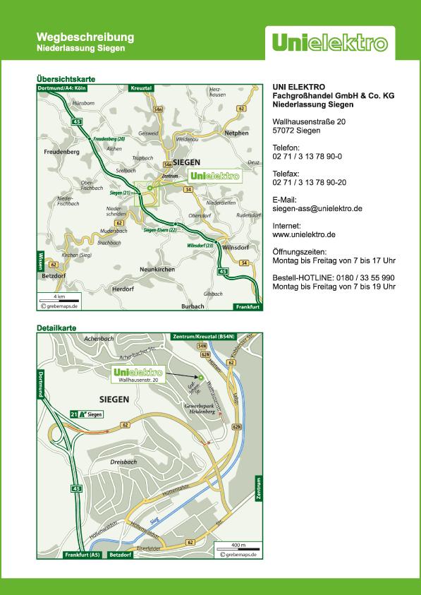 Anfahrtsplan erstellen Karte Siegen (UE)