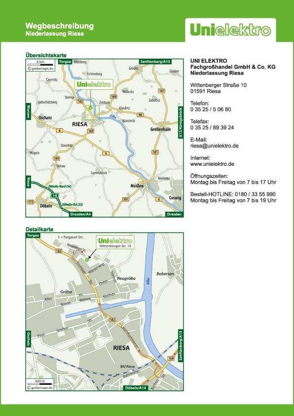 Anfahrtsplan erstellen Karte Riesa (UE)