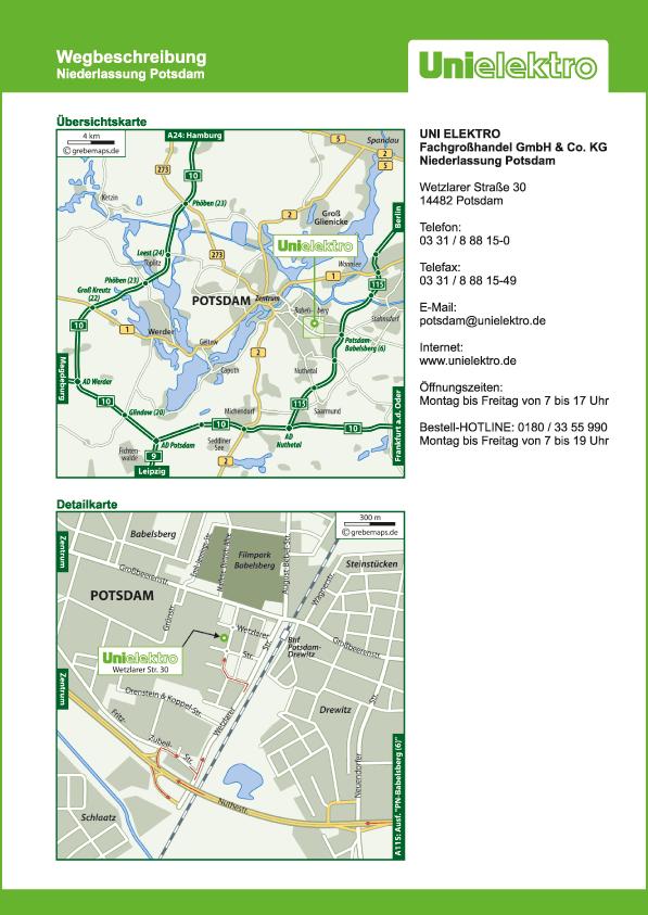 Anfahrtsplan erstellen Karte Potsdam (UE)