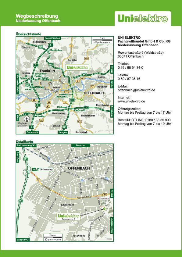 Anfahrtsplan erstellen Karte Offenbach (UE)