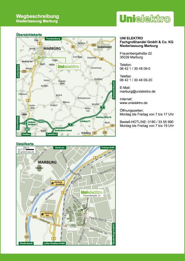 Anfahrtsplan erstellen Karte Marburg (UE)