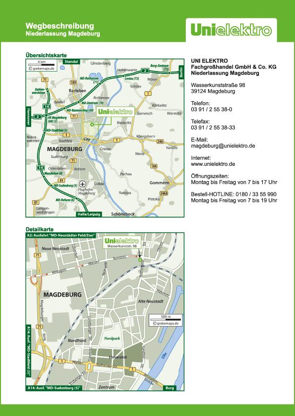 Wegbeschreibung erstellen Karte Magdeburg (UE)