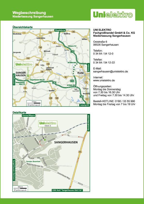 Wegbeschreibung erstellen Karte Sangerhausen (UE)