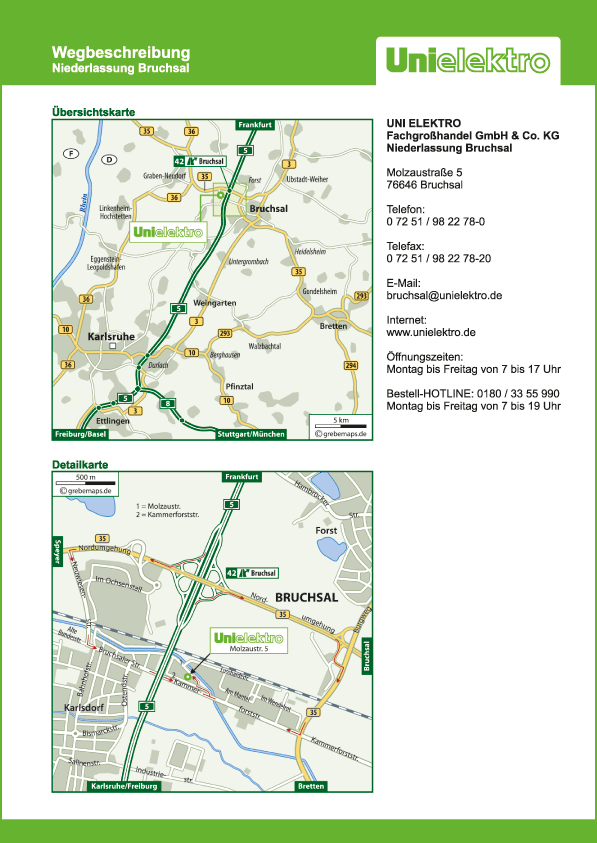 Wegbeschreibung erstellen Karte Bruchsal (UE)