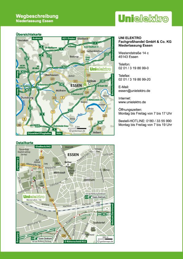 Wegbeschreibung erstellen Karte Essen (UE)
