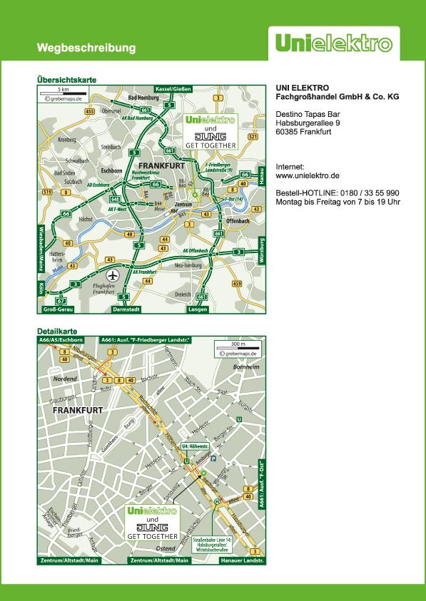 Wegbeschreibung erstellen Karte Frankfurt (UE)