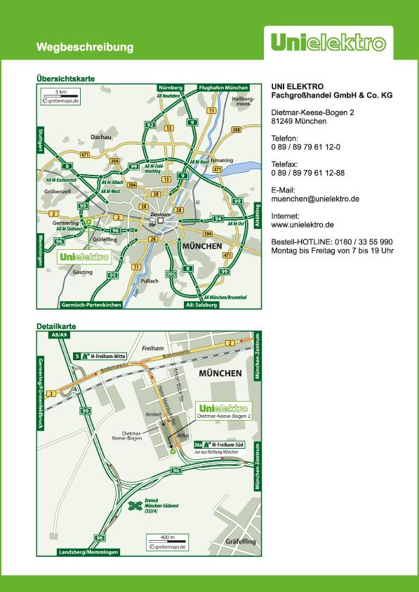 Wegbeschreibung erstellen Karte München (UE)