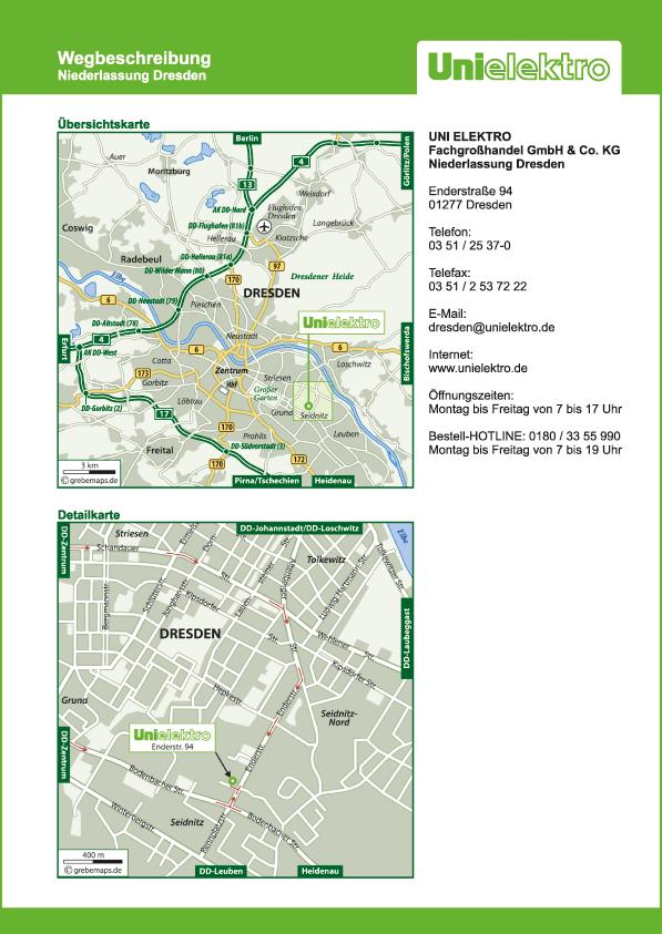 Wegbeschreibung erstellen Karte Dresden (UE)