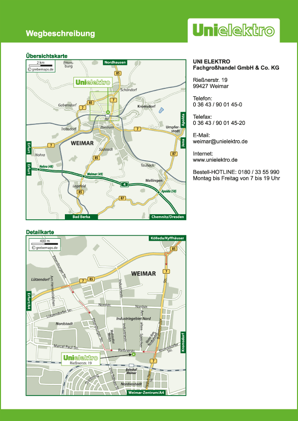 Wegbeschreibung erstellen Karte Weimar (UE)