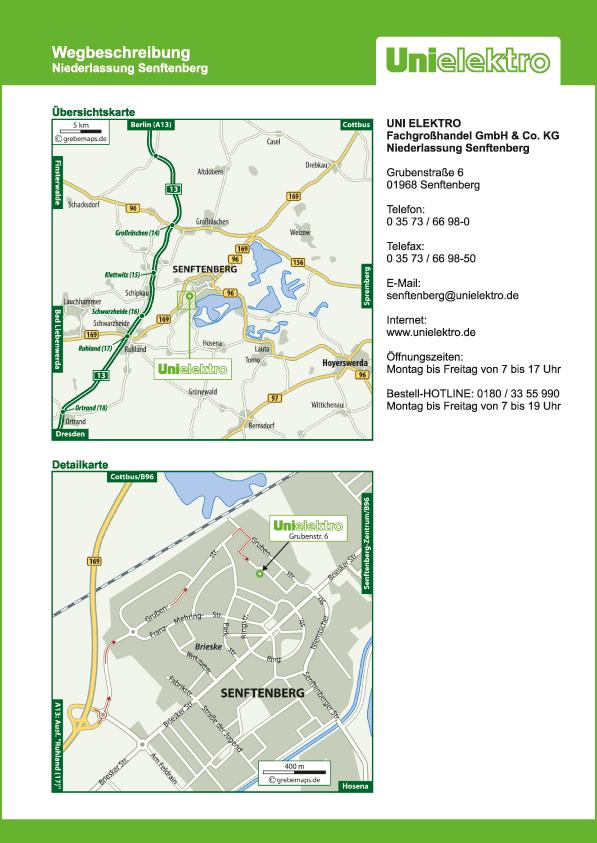 Wegbeschreibung erstellen Karte Senftenberg (UE)