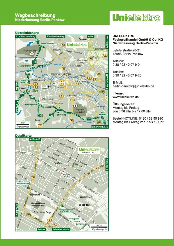 Wegbeschreibung erstellen Karte Berlin-Pankow (UE)