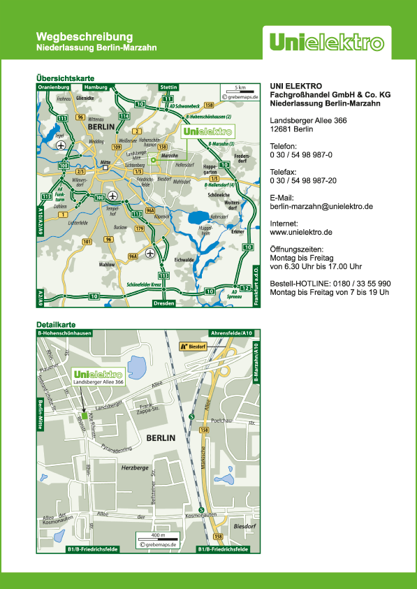 Wegbeschreibung erstellen Karte Berlin-Marzahn (UE)