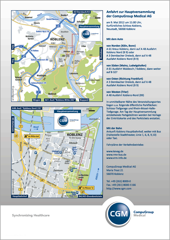 Wegbeschreibung erstellen Karte Koblenz