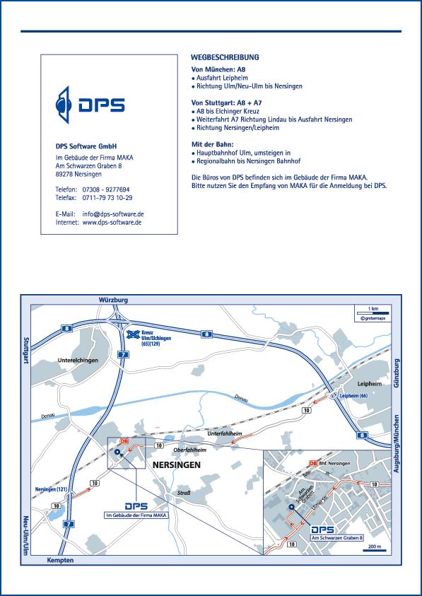 Wegbeschreibung erstellen Karte Nersingen (DPS)