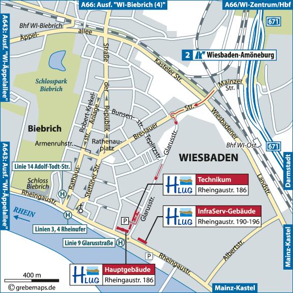 Anfahrtsplan erstellen Karte Wiesbaden (HLUG)