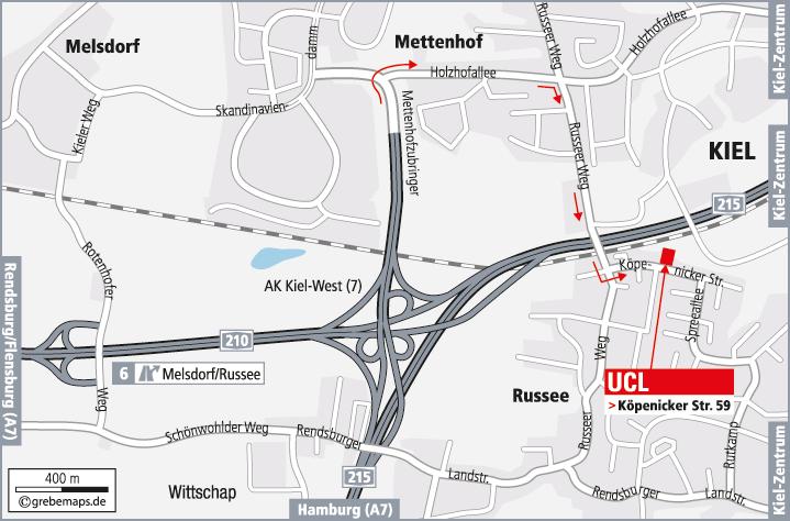Anfahrtsplan erstellen Karte Kiel (UCL)
