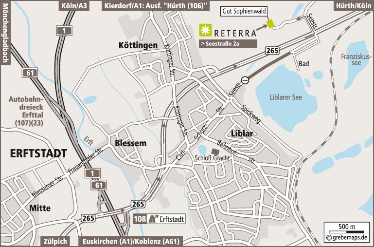 Anfahrtsplan erstellen Karte Erftstadt (Reterra)
