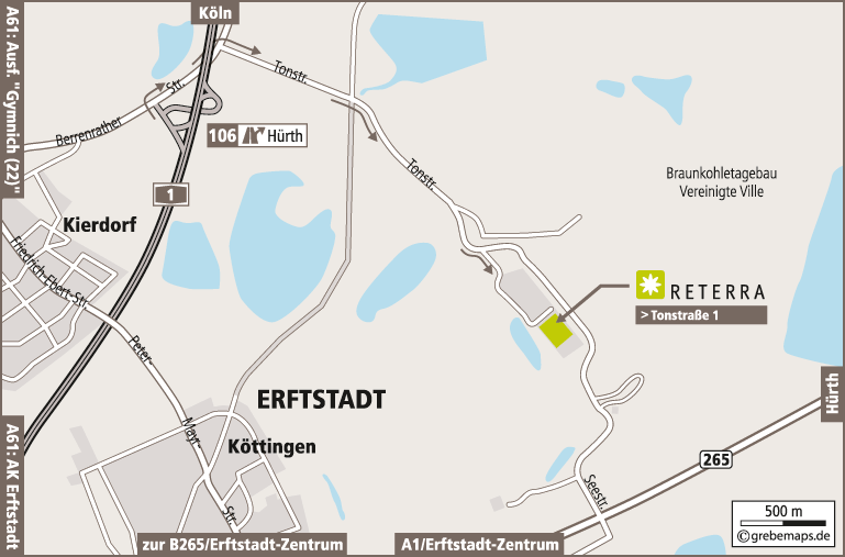 Anfahrtsplan erstellen Karte Erftstadt-Köttingen (Reterra)