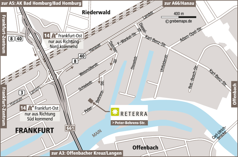 Anfahrtsplan erstellen Karte Frankfurt (Reterra)