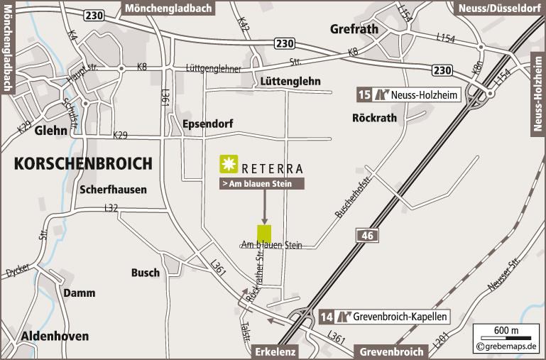 Anfahrtsplan erstellen Karte Korschenbroich (Reterra)