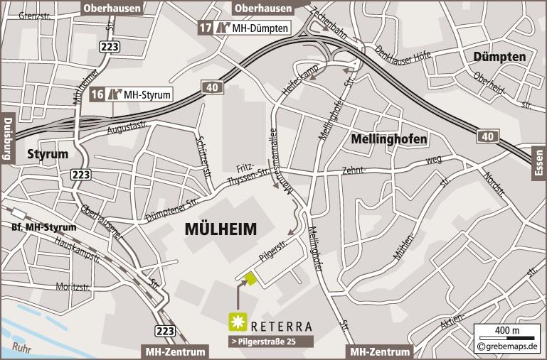 Anfahrtsplan erstellen Karte Mülheim/Ruhr (Reterra)