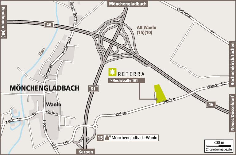 Anfahrtsplan erstellen Karte Mönchengladbach (Reterra)