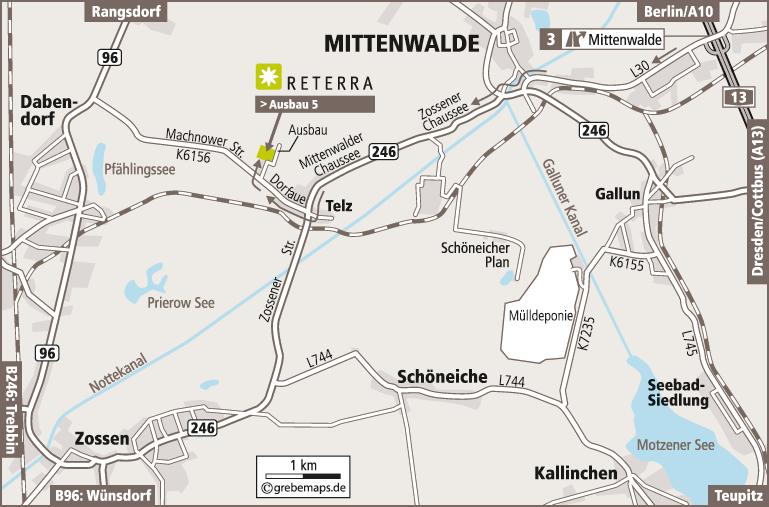 Anfahrtsplan erstellen Karte Mittenwalde (Reterra)