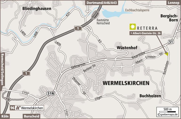 Anfahrtsplan erstellen Karte Wermelskirchen (Reterra)