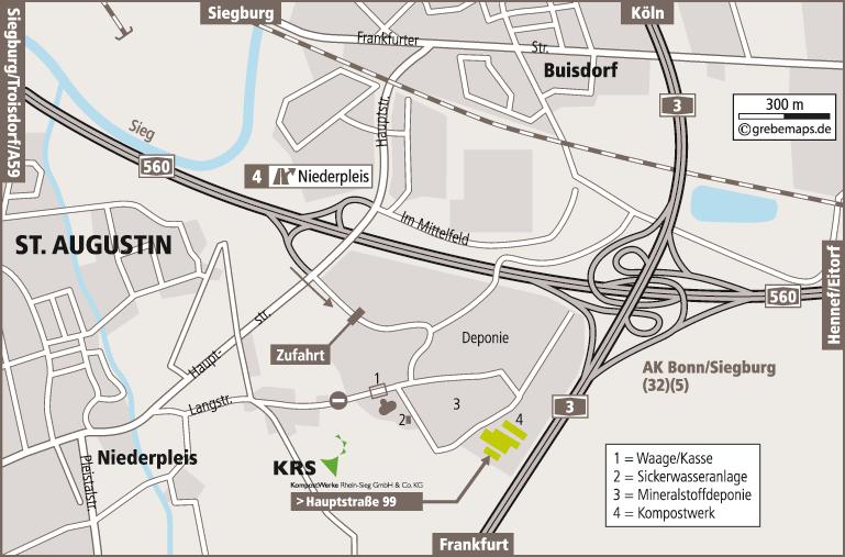 Anfahrtsplan erstellen Karte Sankt Augustin (Reterra)