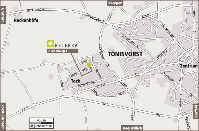 Anfahrtsplan erstellen Karte Tönisvorst (Reterra)