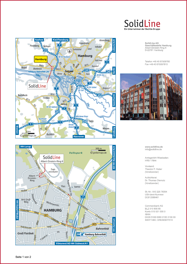 Karte Hamburg (SolidLine)