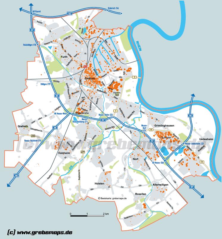 Stadtkarte Neuss grebemaps Kartographie Anfahrtsskizzen