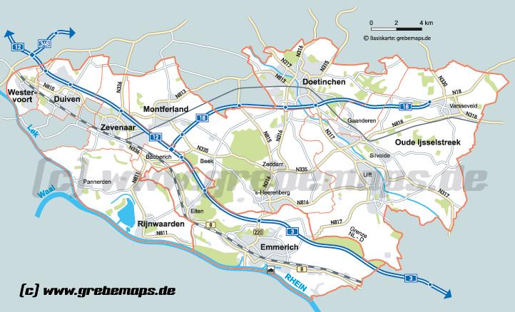 Karte Emmerich – Rijnwaarden