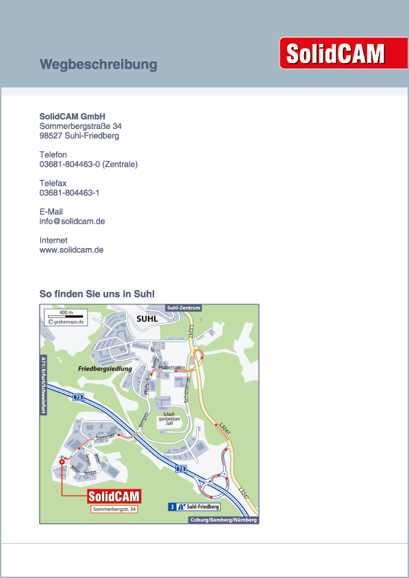 Karte Suhl-Friedberg (SolidCAM)
