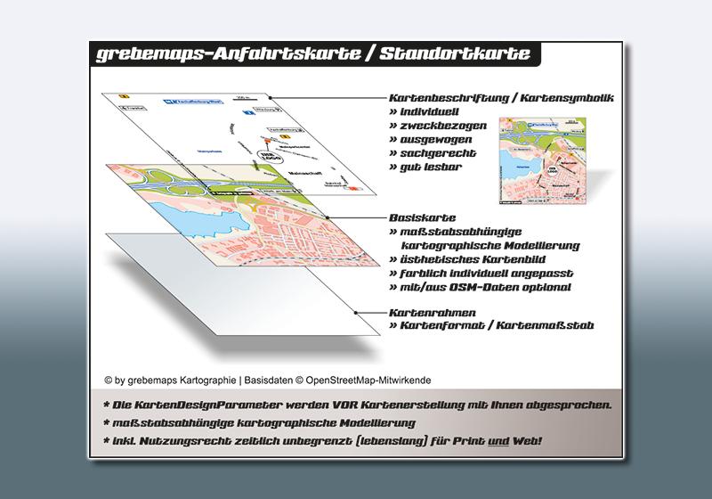 Anfahrtsskizze erstellen, Anfahrtskarte, Anfahrtsskizze, Anfahrtskizze erstellen, Anfahrtsskizzen erstellen, Anfahrtsplan, Wegespinne, Wegekarte, Lageplan, Straßenkarte, erstellen, anfertigen, Einbindung von kostenlosen OpenStreetMap-Daten, Kartografie, Wegbeschreibung erstellen, Kartographie, Visualisierung, Infokarte, Kartengrafik, Vektorgrafik, Karten von grebemaps, KartenDesign