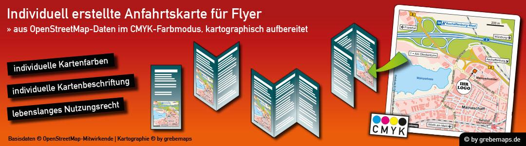 Individuelle Anfahrtsskizze erstellen für Flyer, Anfahrtsskizzen erstellen für Flyer, Anfahrtskizze, Anfahrtsplan, Wegbeschreibung, Lageplan, Straßenkarte, Strassenkarte, Karte erstellen, Print, Druck, Flyer, Prospekt, Broschüre, Web, Homepage, WebSite, Internet, CMYK, Farbmodus, CMYK-Farbmodell, drucken, kostenlose OpenStreetMap-Daten, Vektor, Illustrator, AI, Datei, erstellen, anfertigen, gestalten