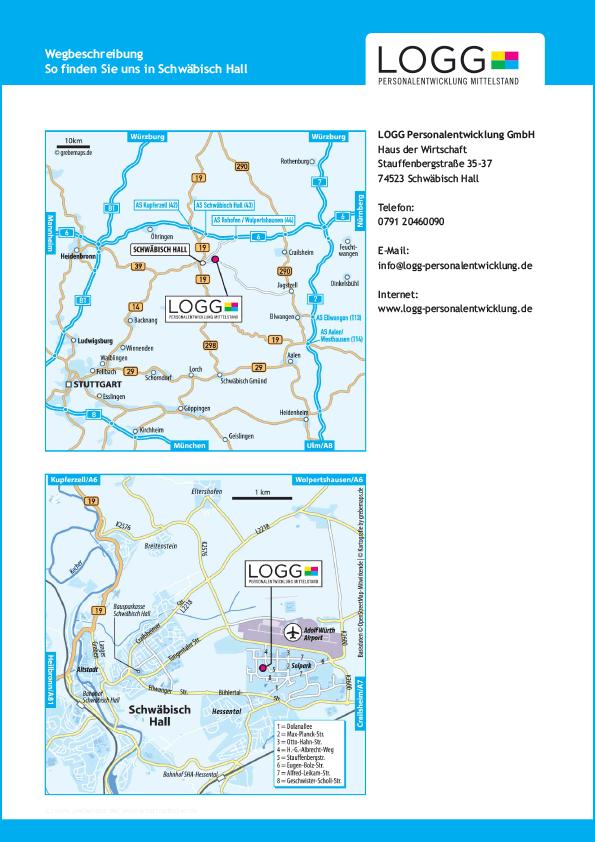 Wegbeschreibung erstellen Karte Schwäbisch Hall (LOGG)