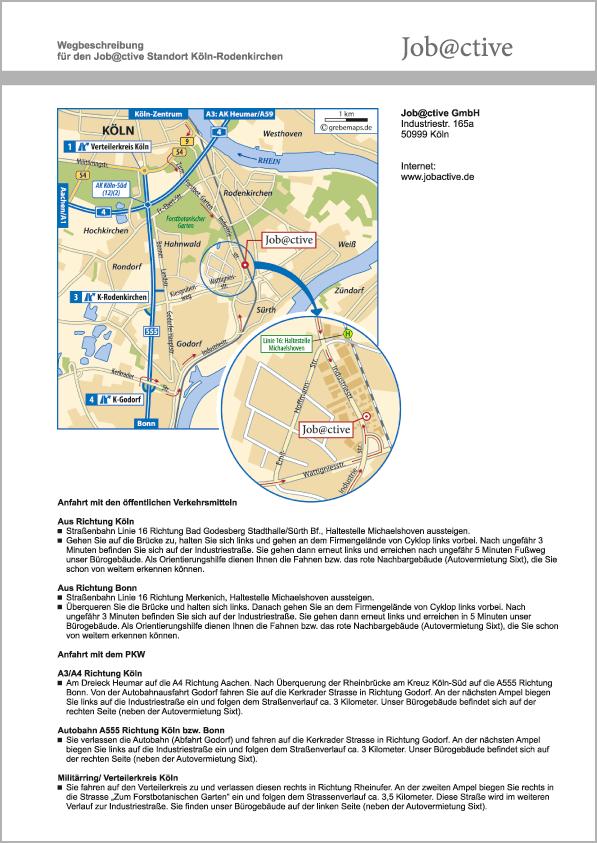 Wegbeschreibung erstellen Karte Köln (Job@ctive)