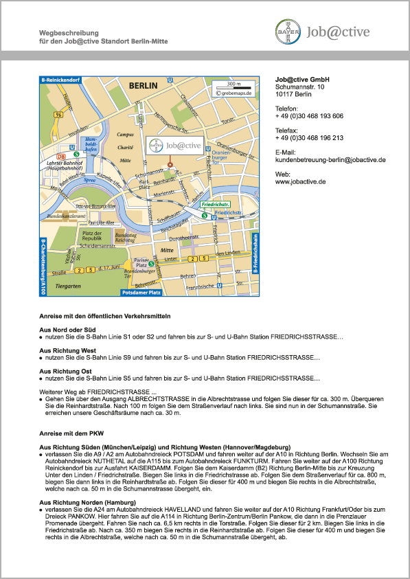 Wegbeschreibung erstellen Karte Berlin-Mitte (Job@ctive)