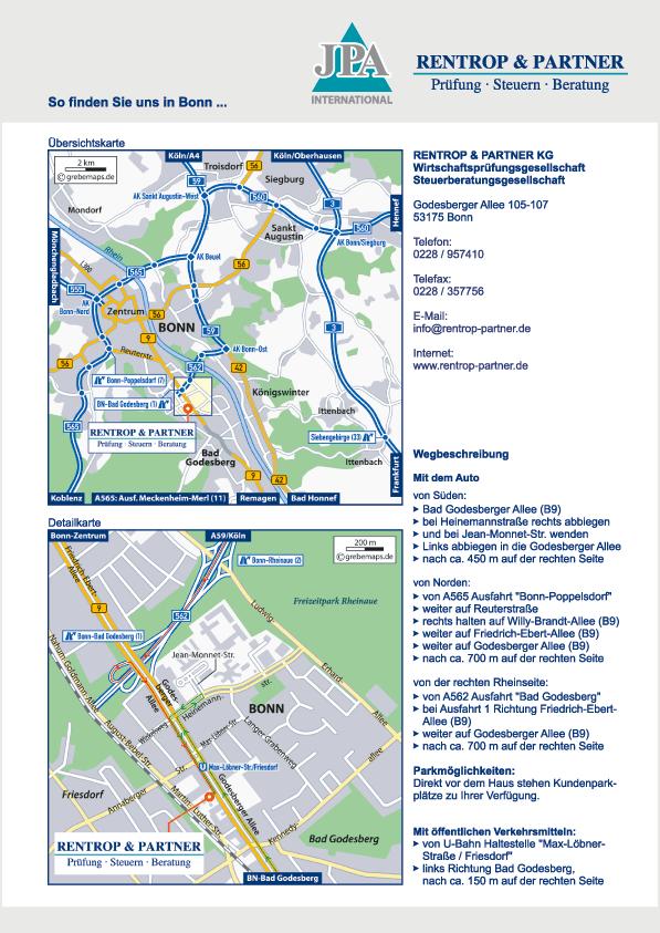 Wegbeschreibung erstellen Karte Bonn (RP)
