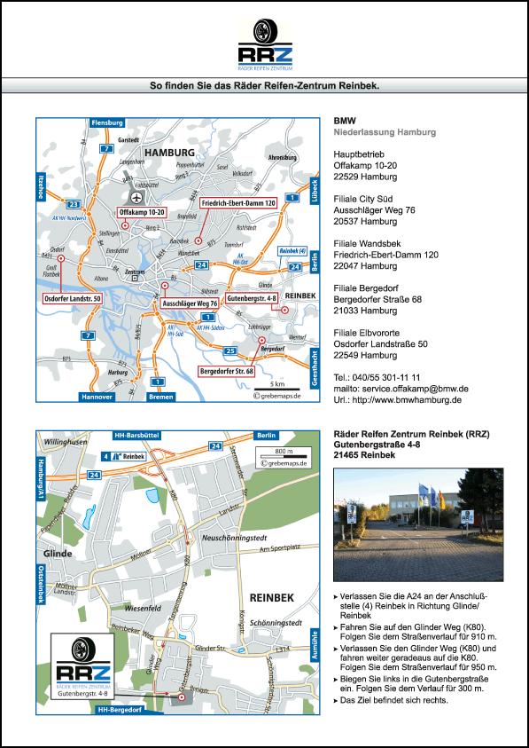 Wegbeschreibung erstellen Karte Hamburg (RRZ)