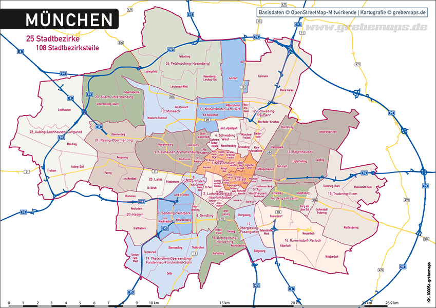 Karte München Stadtteile.übersicht Stadtteile München Karte Hanzeontwerpfabriek