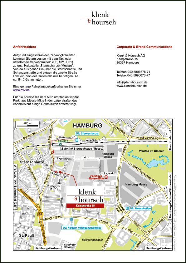 Wegbeschreibung erstellen Hamburg
