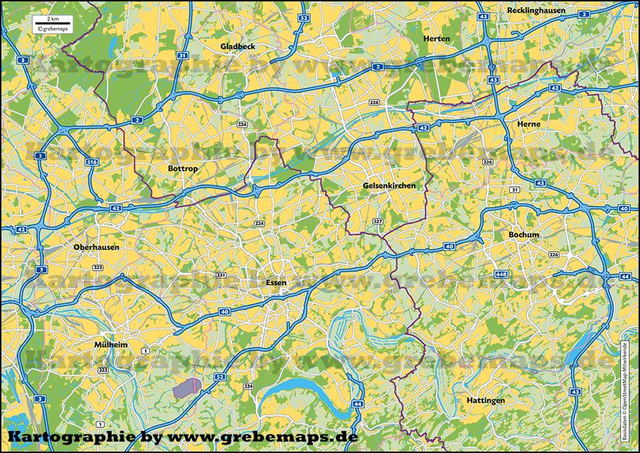 Übersichtskarte erstellen Ruhrgebiet