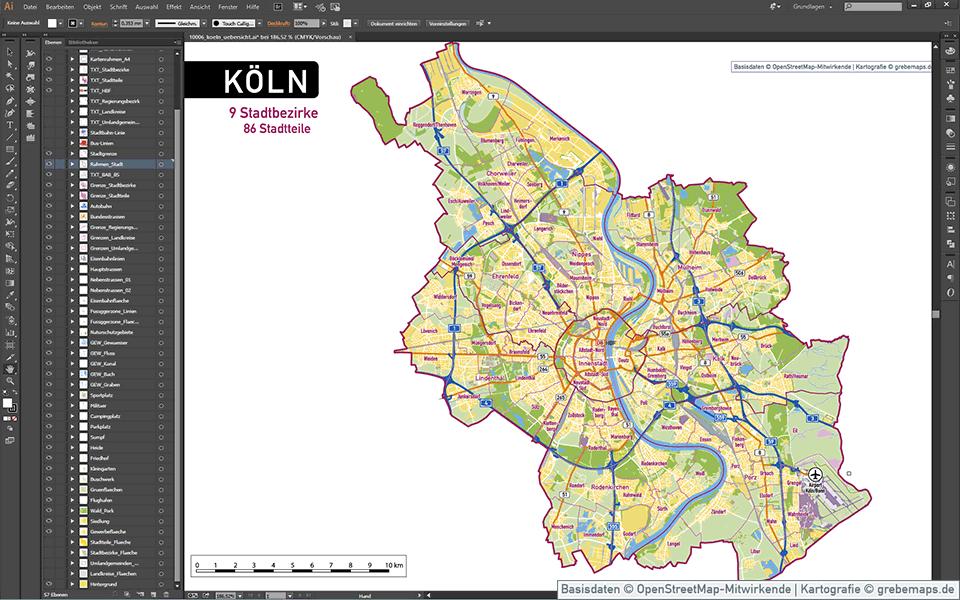 Vektor Karte Köln