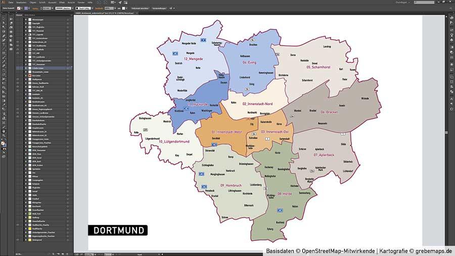 Vektor Karte Dortmund
